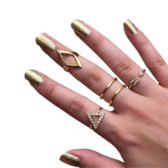 5 Psc/set joint rings sets for women arrow diamond triangle rings jewelry fashion wild diamond gold 5 Psc/set