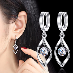Zircon silver earrings Women's rotation love pearl earrings female long Reverse fashion earrings White diamond adjustable