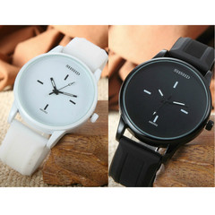 Large dial watch simple black and white couple personality watchs for men and women ladies watches black+white(couple watch) couple watch(2pcs)