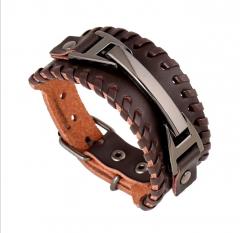 Punk men's Leather hand chain Woven leather bracelet brown 24cm
