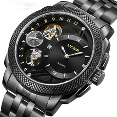 Men's watch non-mechanical watch fashion business sports hollowed-out watch Black edge black dial commonly