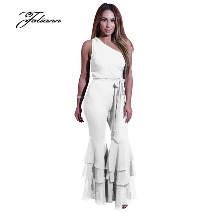 44e94da3669 2018 new pure 6-color large horn slanted shoulder jumpsuit women s fashion  l white