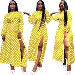 New pot-dot dress with a sexy high-slit skirt Women's clothing yellow s