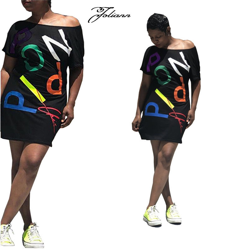 32ccdf0dd4e Women s personality is irregular printed letters leisure dress with short  sleeves l black  Product No  2646548. Item specifics  Seller SKU 衣服-081   Brand