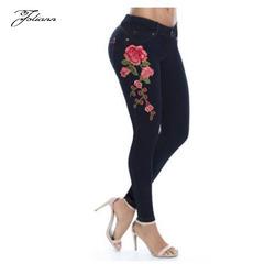 High waist slim stretch embroidered tight denim trousers black xl