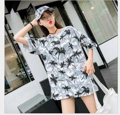 2019 New Southeast Asian Tropical Printing Crewneck Loose Short Sleeve Jacket white xl