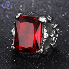 European and American domineering titanium steel men's inlaid zircon ring 430 Red Diamond US No.-7 8 yards