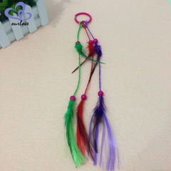 Feather headdress color ponytail wig ramie hair rope hair accessories personality dirty color The length of the small dragonfly is about 30 cent