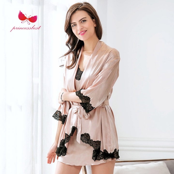 662997c7e5 Sexy lingerie ladies lace sexy embroidered pajamas nightgown pink one camel  m