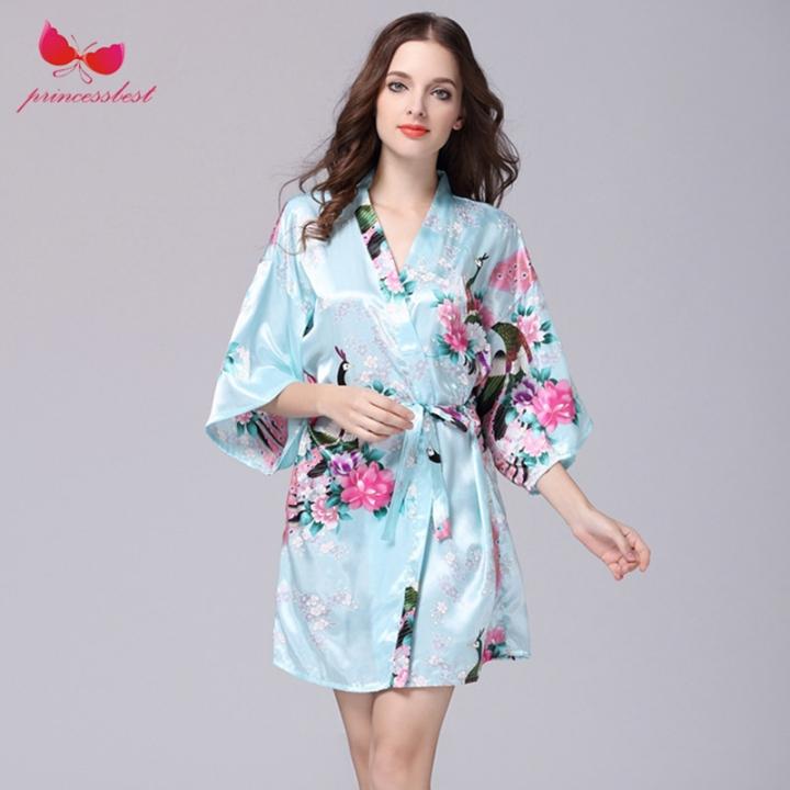 9803612936 2018 new silk robes women s pajamas sexy bathrobes plus-size home clothes  Pale blue m