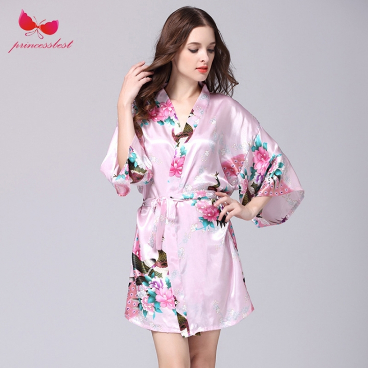 78b4b0bf08 Plus size ladies silk satin nightie with a bathrobe sexy floral sling  nightdress and robe casual housecoat set for women