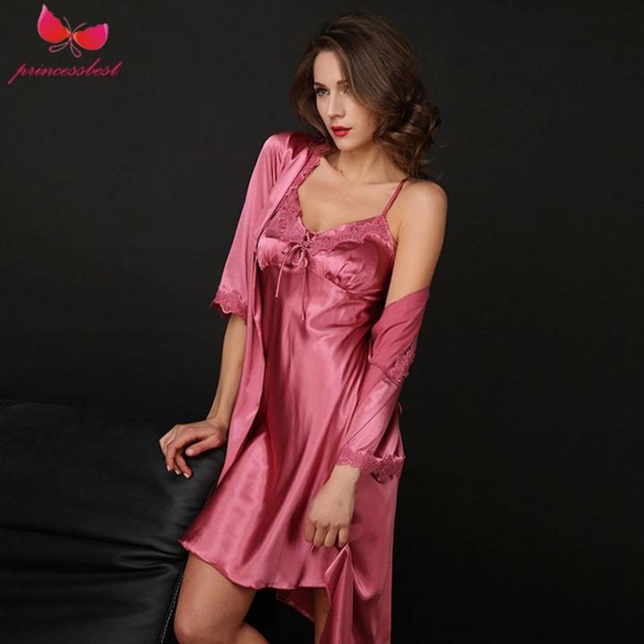 2018 new ladies home wear nightwear lingerie silk-like sexy suspenders two- piece set d597ab519