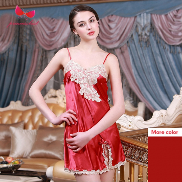 fe5b0b29d2 Sling nightdress ladies silk embroidery sexy pajamas home service  simulation silk nightdress China red m