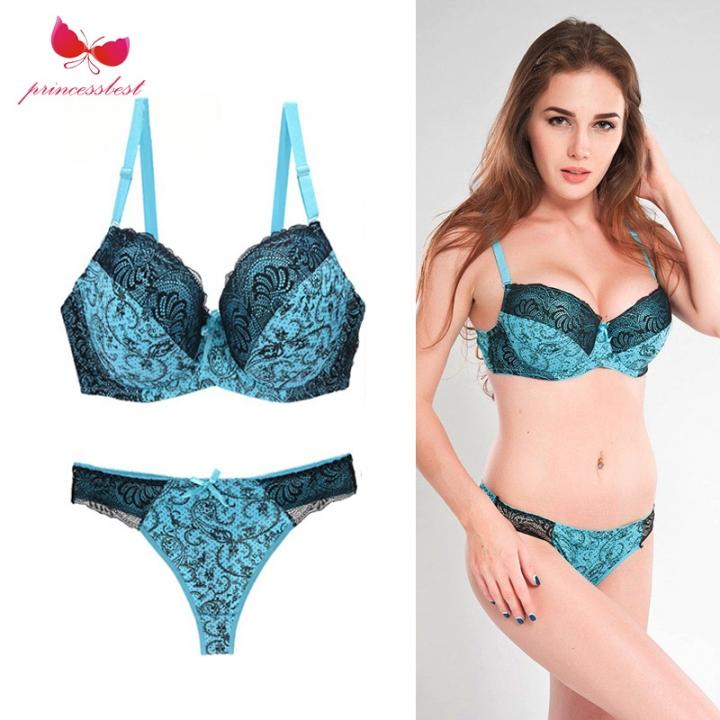 Sexy bra suit lace printed color underwear large underwear suit lake blue  80c 2474000b9add