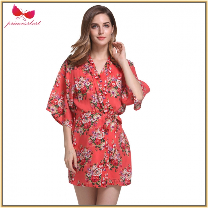 e027dae0e9c1 2018 Hot Printed Cotton Pajamas Silk Light Cotton Short Printed Robe wine  red xl