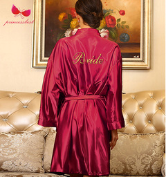 Lady silk robe wedding gown embroidery Bride thin cardigan gown bride morning gown wine red M