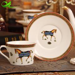 Ceramic bone china tea set coffee set retro painted single cup saucer afternoon tea set Roman Caliber 10cm high 8cm