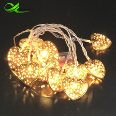 Hollow Moroccan style wrought iron love silver gold wedding Christmas lights wedding room 10 lights yellow Gold shell led