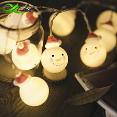Led lantern Christmas doll snowman head Christmas day decoration lamp string wind 3 meters 20 warm light plug-in models 3 meters 20 220V