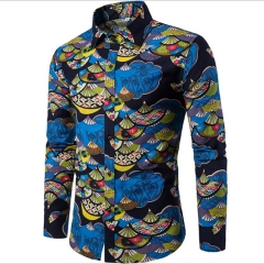 The new national flower men leisure large size long sleeve shirt multi-color slim shirt men s2 4xl