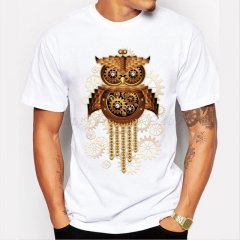 Retro owl printing T-shirt men's fashion short sleeved bottoming coat White XXL Pure cotton