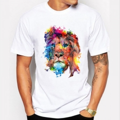 Summer men's T-shirt color lion printing Europe and the United States half sleeve T-shirt white XL