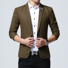 Slim men's plaid printed suit XL small suit jacket thickening Khaki M