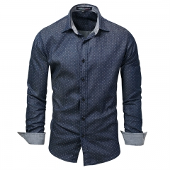 New foreign trade large size fashion men's denim long-sleeved shirt dot versatile shirt Navy 2XL