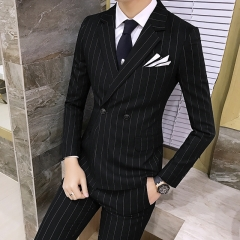 Men's suit suit, striped British style suit, three piece large size vest, casual pants. navy blue m
