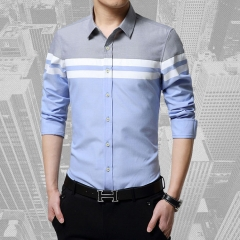 Spring and autumn new cotton and linen men's Korean casual shirt blue xxxxl