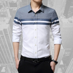 Spring and autumn new cotton and linen men's Korean casual shirt white 2xl