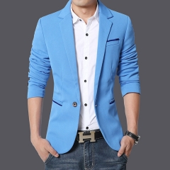 New men's men's small suit men's suits casual western business casual solid color blue xxl
