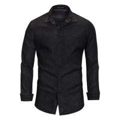 Europe and the United States new denim shirt large size men's long-sleeved shirt cotton top black 2xl