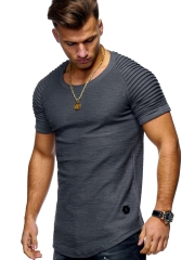 new slimming solid-color short-sleeved t-shirt striped men's wear in Europe and the United states black xxxl standard