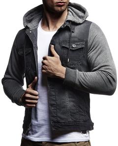 Men's Casual Hooded Long Sleeve Denim Jacket Dark gray m