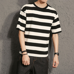 Cotton large size striped short-sleeved T-shirt men's casual white and black m standard