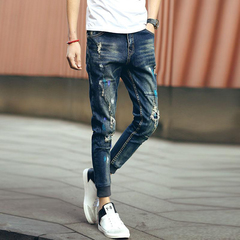 Personality youth hole patch casual nine points pants feet Slim tide male pants blue 28