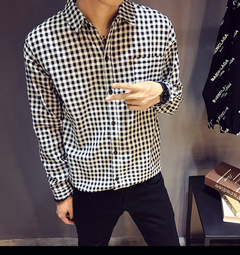 Korean version of the trend of men's long-sleeved lining clothes thin section loose casual white m