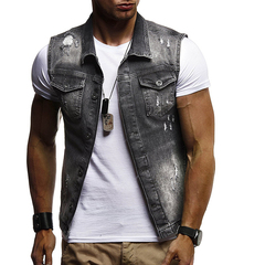 2018 foreign trade new Europe and America large size washed hole denim vest light grey m