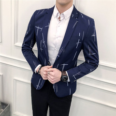 New men's suit coat Korean version of slim suit man blue m