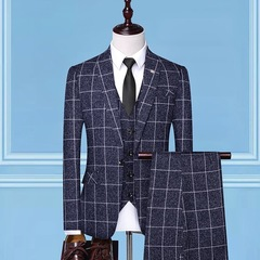 Casual suit men's three-piece formal dress bridegroom wedding dress British professional suit blue m