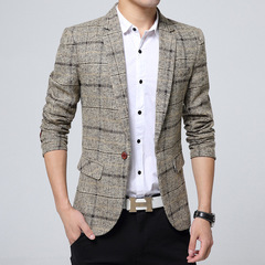 Autumn and winter new men's leisure suit slimming checkered suit a buckle youth suit coat khaki m
