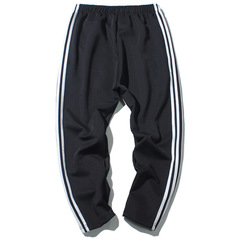 Outdoor thick striped loose waist sweatpants sports leisure Harlan straight pin trousers black l