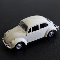 Alloy model car model beetle back force toy car accessories birthday cake decoration white 10cm