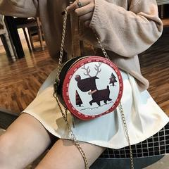 New oblique satchel female chain small round female han edition cute one shoulder round package The deer o'ne si'ze