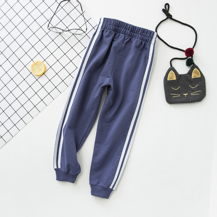 e8ec14d4d07e Children s pants sports pants boys and girls loose bottoming Cotton Striped casual  pants. Tibetan green