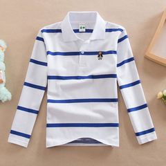 Children's wear children's T-shirt long sleeved Polo shirt boy cotton collar white 100