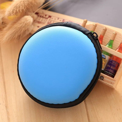 Bluetooth headset storage box Data cable charger storage bag round fing blue conventioal
