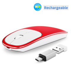 Wireless mouse rechargeable mute cross-border aluminum alloy thin laptop desktop computers red standard