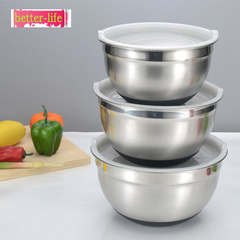 Stainless steel eggbeater stainless steel salad pot silicone bottom salad pot Egg beater 20cm